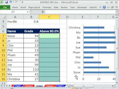 Excel Magic Trick 566: Conditional Format A Chart Student Grades