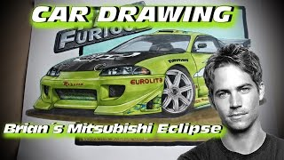 Brian´s 1995 Mitsubishi Eclipse [The Fast and the Furious] Car Drawing by Fast Art