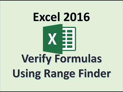 Excel 2016 - Verify a Formula using Range Finder