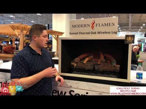 Modern Flames Electric Log Set Sunset Charred Oak Wireless Google Home!