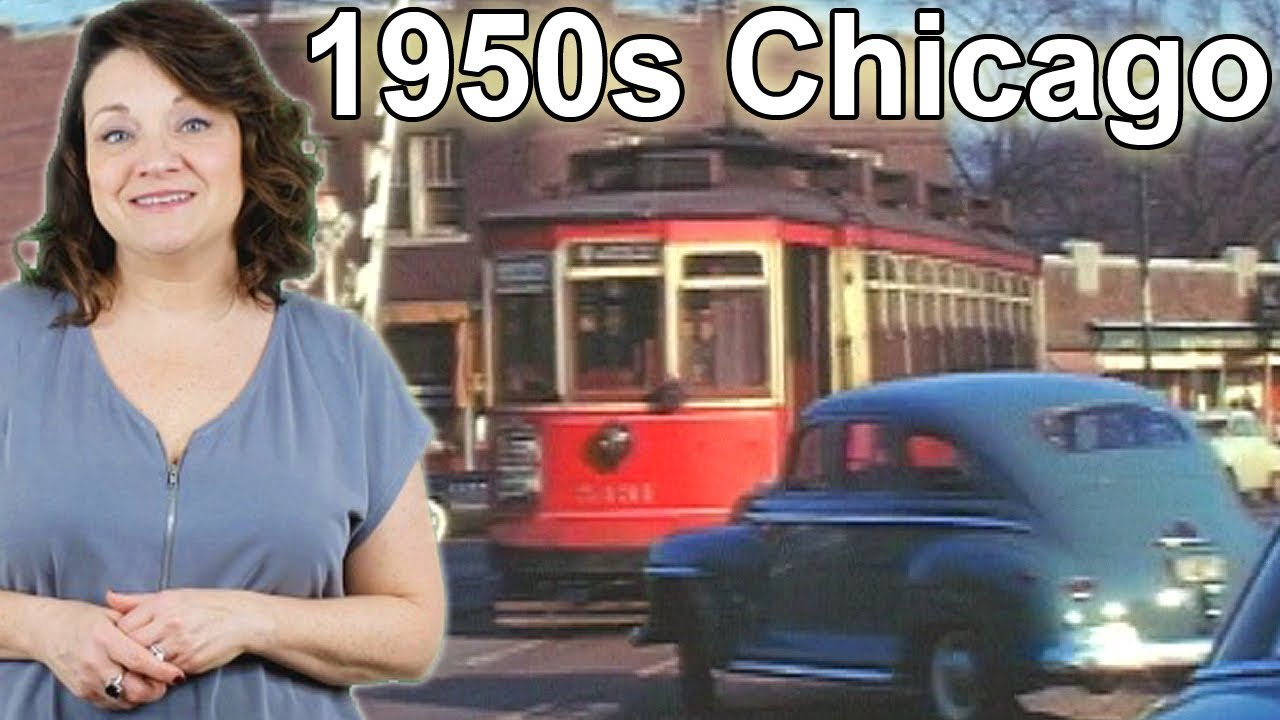 The streets of Chicago in the 1950s! Great old film of cars and trolleys.