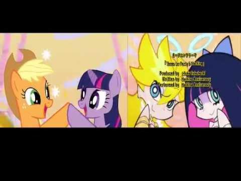 Panty & Stocking with Garterbelt Theme Song VS Applejack & Twilight with Celestia (Comparison)