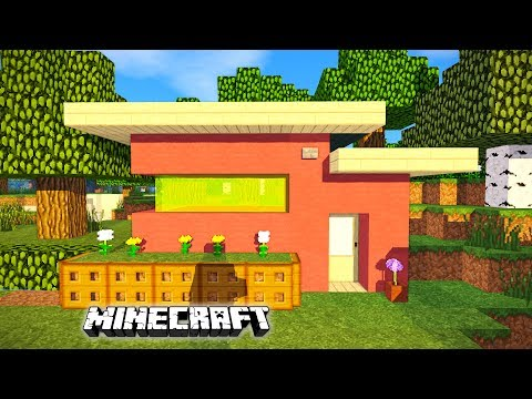 Minecraft: How to build a small modern house - Pink House