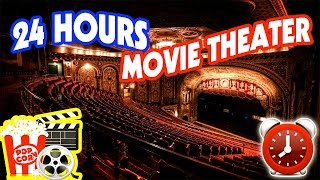 (SCARY) 24 HOUR OVERNIGHT at HAUNTED MOVIE THEATER ⏰ | GHOSTS IN A MOVIE THEATER OVERNIGHT CHALLENGE