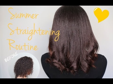 Summer Straightening Routine   How to Flat Iron Natural/Curly Hair   Natural Hair Tutorial   Flawhs
