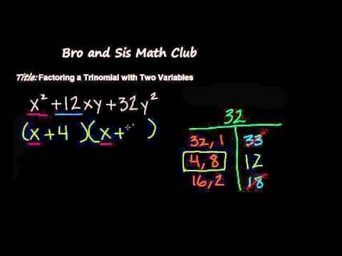 Factoring a Trinomial with Two Variables - Algebra I