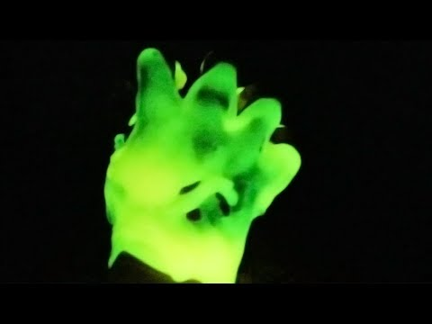 DIY Glow in the Dark Slime Hand [HOW TO MAKE SLIME] Dried Fluffy