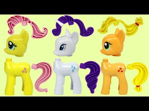 My Little Pony MLP Tinker Toy Building Play Set with Rarity, Fluttershy & Applejack