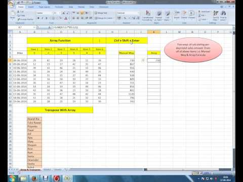 MS Excel 2007 - Array Function & Transpose Function