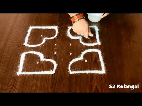 Simple rose rangoli for beginners - easy rangoli designs with 6 dots - chukkala muggulu designs