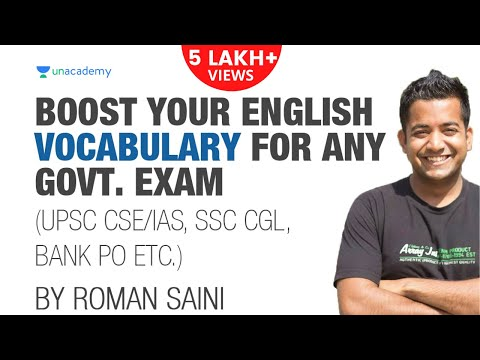Boost Your English Vocabulary for Govt. Exams - by Roman Saini [UPSC CSE/IAS, SSC CGL/CHSL, Bank PO]