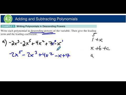 4.2 Example 1 Writing Polynomials in Descending Powers