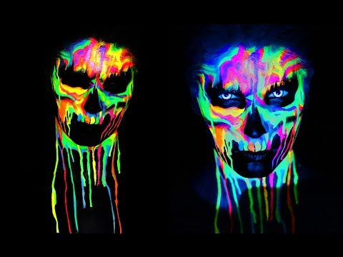NEON SKULL Black Light UV Makeup Tutorial | 31 Days of Halloween