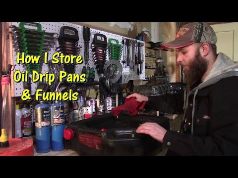 How I Store Oil Drip Pans & Funnels by @GettinJunkDone