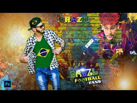 Football Worldcup special editing tutorial in photoshop cc l Brazil fans and lovers photo design