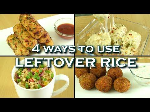 4 ways to use LEFTOVER Rice|Cabbage Rolls|Fried Rice in mug|Biryani Bombs|Cheesy Sticks|Rice Recipes