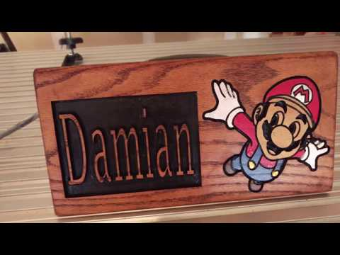 Red Oak Super Mario Carved Sign CNC Hand Painted