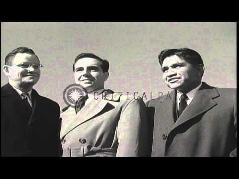 The three surviving members of the Iwo Jima flag raising: Ira Hayes, Rene Gagnon,...HD Stock Footage