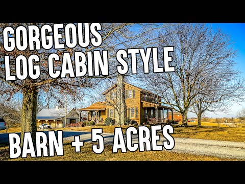 VIDEO - Log Cabin-style house in the Country, Horse barn, 5 ac, Pond Barn, VIEWS, Fireplace Kentucky