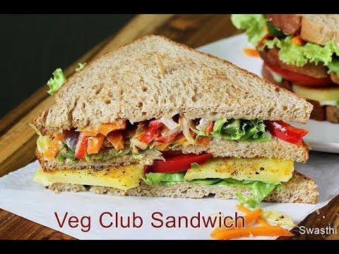 Veg club sandwich | simple vegetarian club sandwich