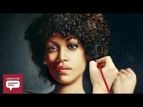 REALISTIC OIL PAINTING DEMO - stunning African woman / dark skin portrait by Isabelle Richard