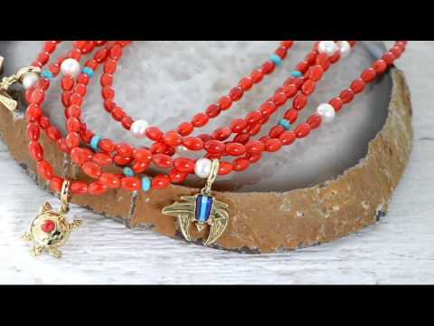 Red Coral Bead Removeable Statement Necklace by American West on QVC