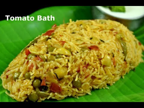 Tomato Bath Recipe | Hotel style quick tomato rice | Tomato pulao recipe