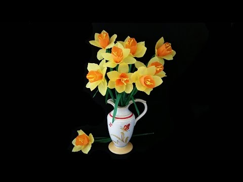 Beautiful Paper Daffodils .. Easy Craft Diy