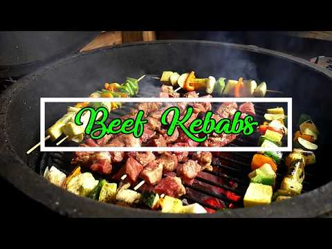Beef and Veggie Kebabs on the Big Green Egg by way of the Blackstone