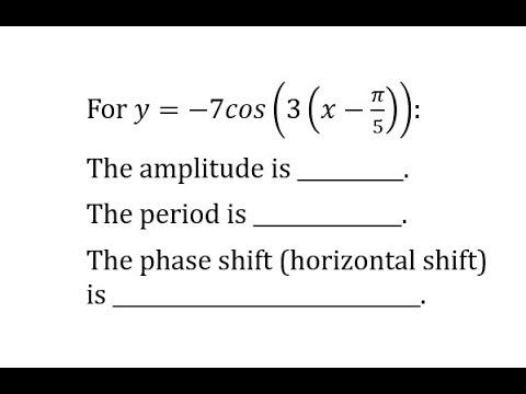 Characteristics of a Transformation of the Cosine Function (Reflection, No Vertical Shift)