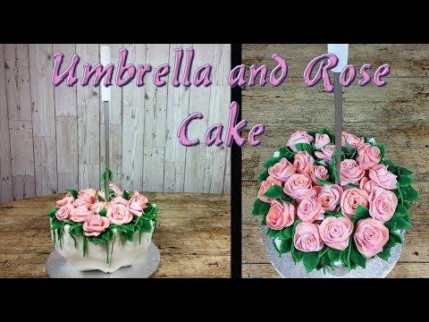 Umbrella and Rose Cake