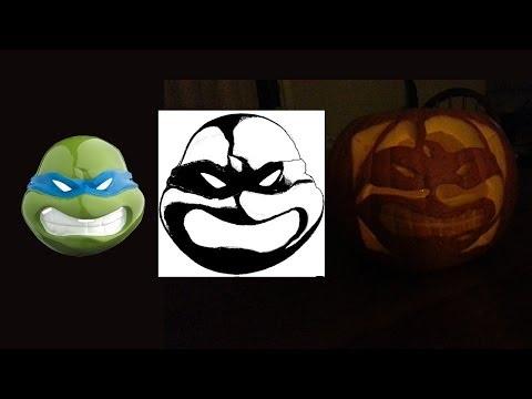 Making a Ninja Turtle Stencil And Carving a Ninja Turtle Pumpkin | free stencil