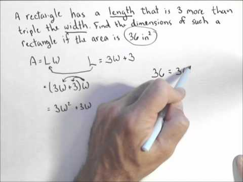 Using a Quadratic to find the Dimensions of a Rectangle