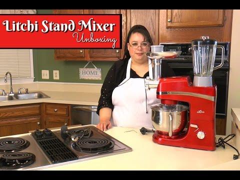 Litchi Stand Mixer Unboxing ~ 5.5 Quart with Blender, Meat Grinder, Sausage Stuffer & Pasta Extruder