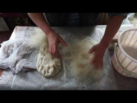 Irma making a pair of felt slippers