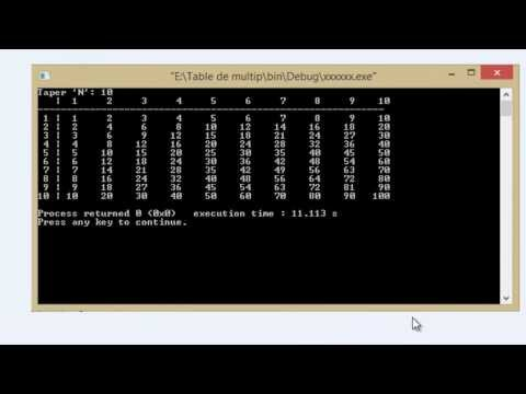 Table de Multiplication Bien Programmer Langage C (Samir.7)