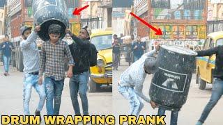 DRUM WRAPPING PEOPLE PRANK PART 1! || PRANK IN INDIA || MOUZ PRANK