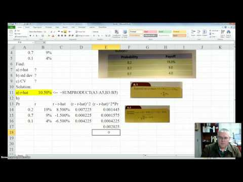 Expected return, standard deviation, and CV of a discrete probability distribution using Excel
