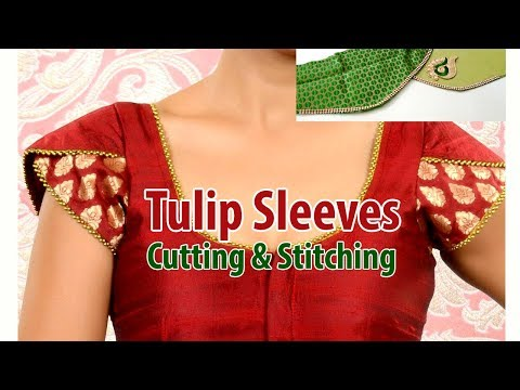 Tulip Sleeves cutting and stitching - How to Stitch Tulip Sleeve Design Saree Blouse in Tamil