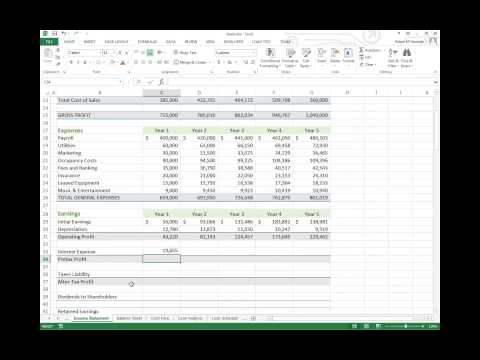 Adding Taxes and Interest Expenses to an Income Statement in Excel