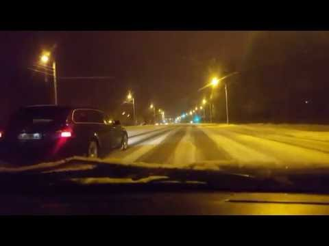 Latvia snowy night going to Riga 15.11.16.-16.11.16.