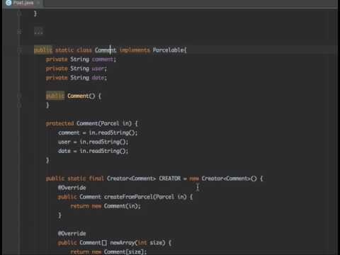 Create Parcelable class with generate helper in Android Studio