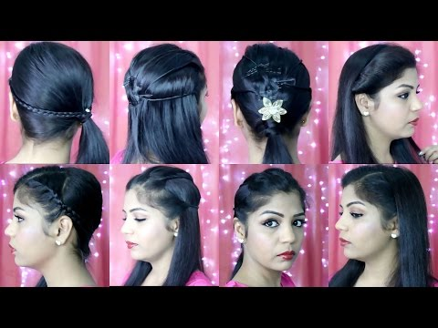 4 Quick and Easy Hairstyles | Indian Party Heatless Hairstyles | SuperPrincessjo