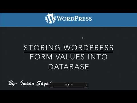 Storing WordPress Form Values into Database