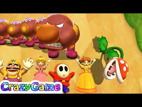 Mario Party 9 Boss Rush - Wario vs Shy Guy vs Peach vs Daisy Master CPU Gameplay | CRAZYGAMINGHUB