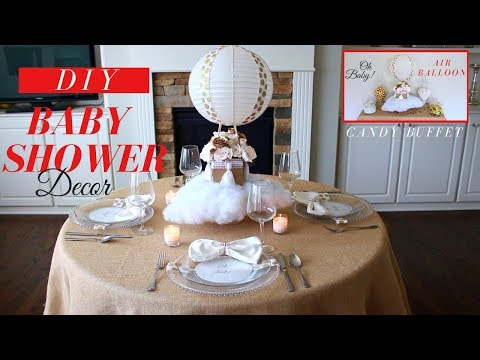 DIY BABY SHOWER DECORATIONS | FLOATING HOT AIR BALLOON CENTERPIECE