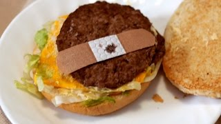 BAND-AID ON FAST FOOD BURGER!