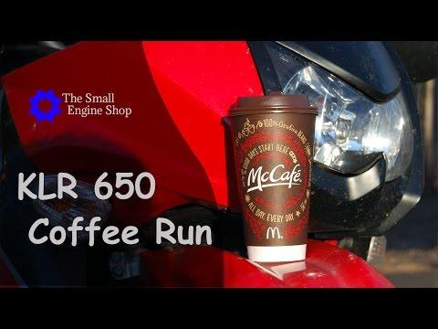 Kawasaki KLR 650 Coffee Run McDonalds Drive Thru McCafe - Crash at End