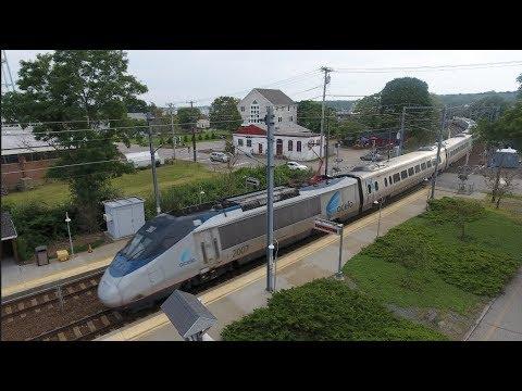Drone Video! Amtrak Acela's Meet In Mystic 7.28.17