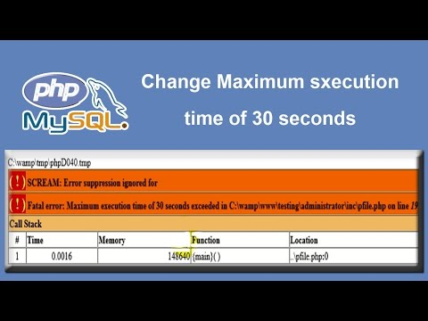 Fix problem   Change maximum execution time of 30 seconds to 300 seconds